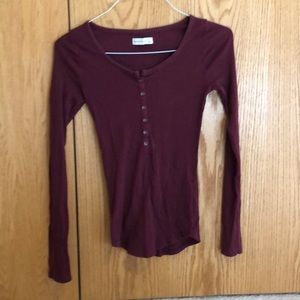 Abercrombie and Fitch Maroon Ribbed Shirt